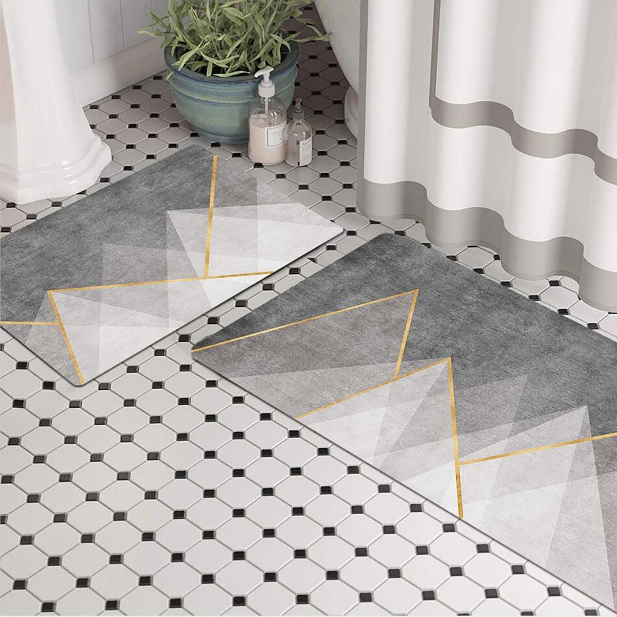 1шт нескользящий коврик для ванной с геометрическим рисунком