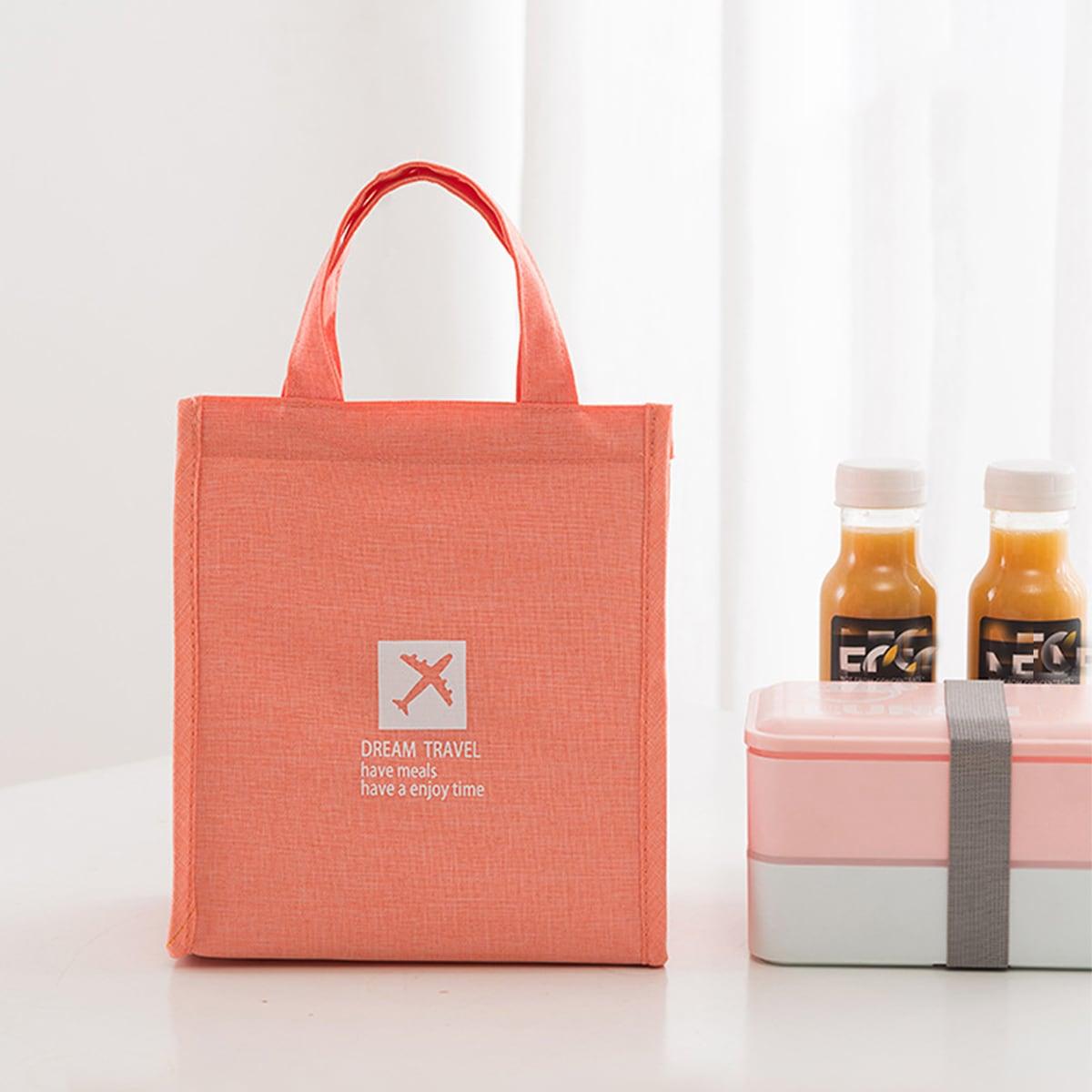 1Pc Slogan Graphic Lunch Bag