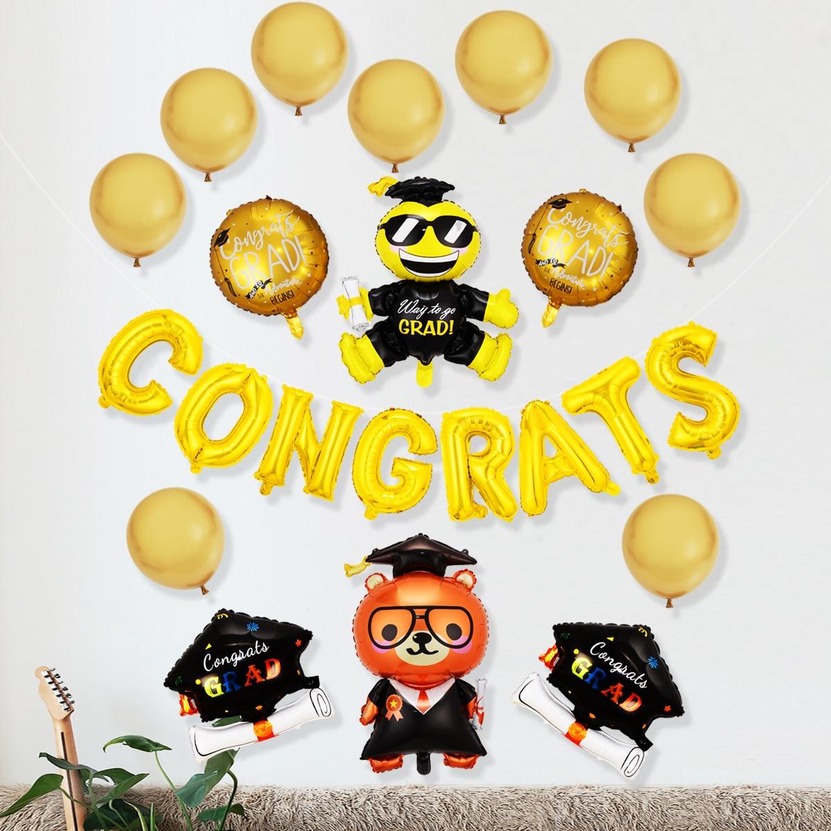 25 piezas set globo de graduación con diseño de figura de dibujos animados