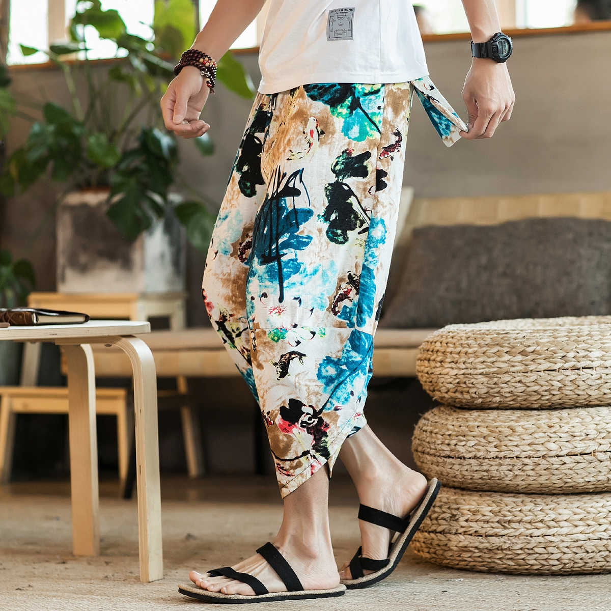 Men Floral & Fish Print Drawstring Pants