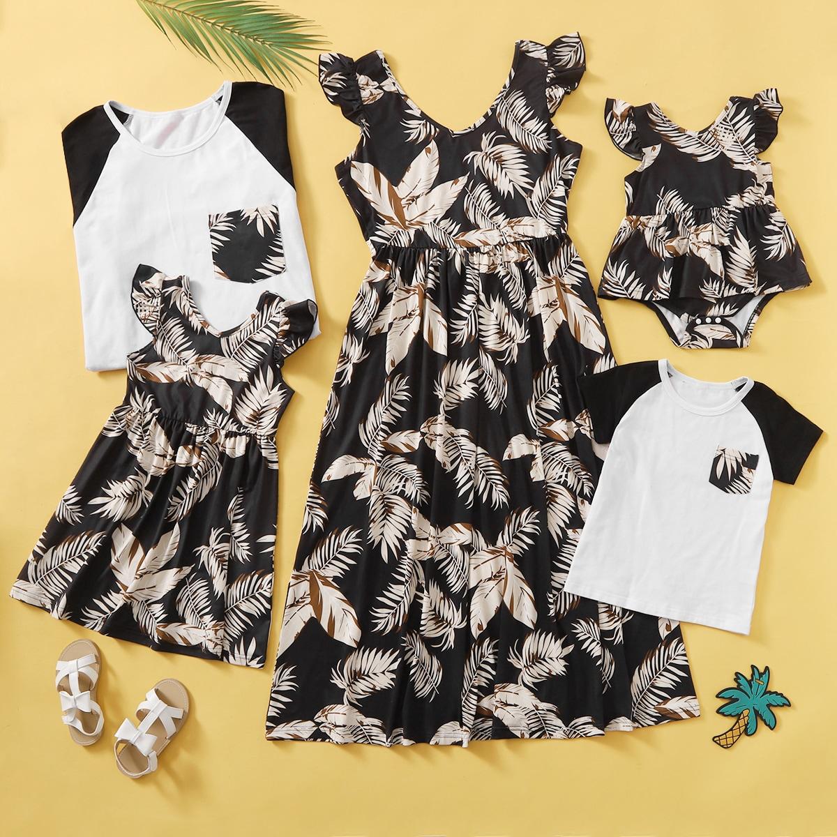 для девочек с тропическим принтом Составной комплект Боди Платье от SHEIN