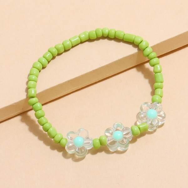 1pc Beaded Bracelet, Green