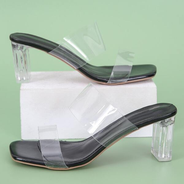 Clear Strap Chunky Heeled Mule Sandals, Black