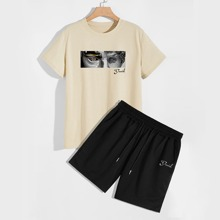 Guys Figure & Letter Graphic Tee With Shorts