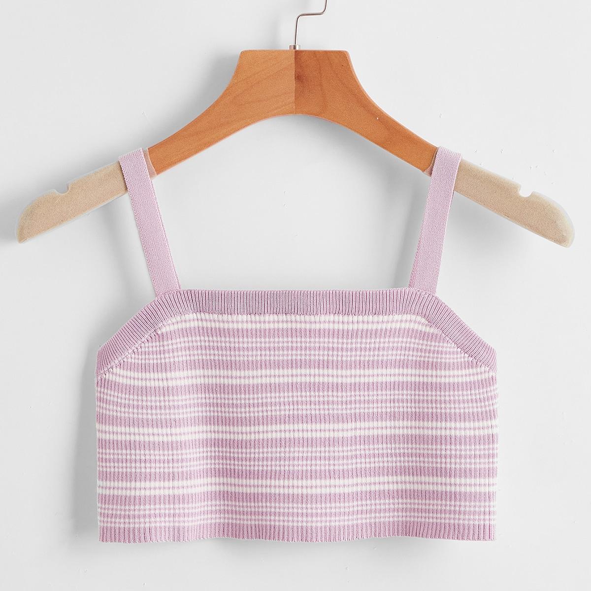 Striped Rib-Knit Cami Knit Top