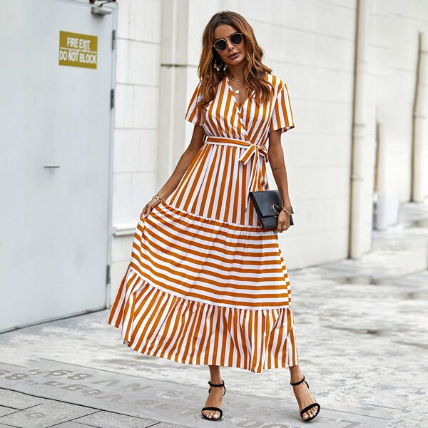 Striped Surplice Front Belted Ruffle Hem Dress, Multicolor