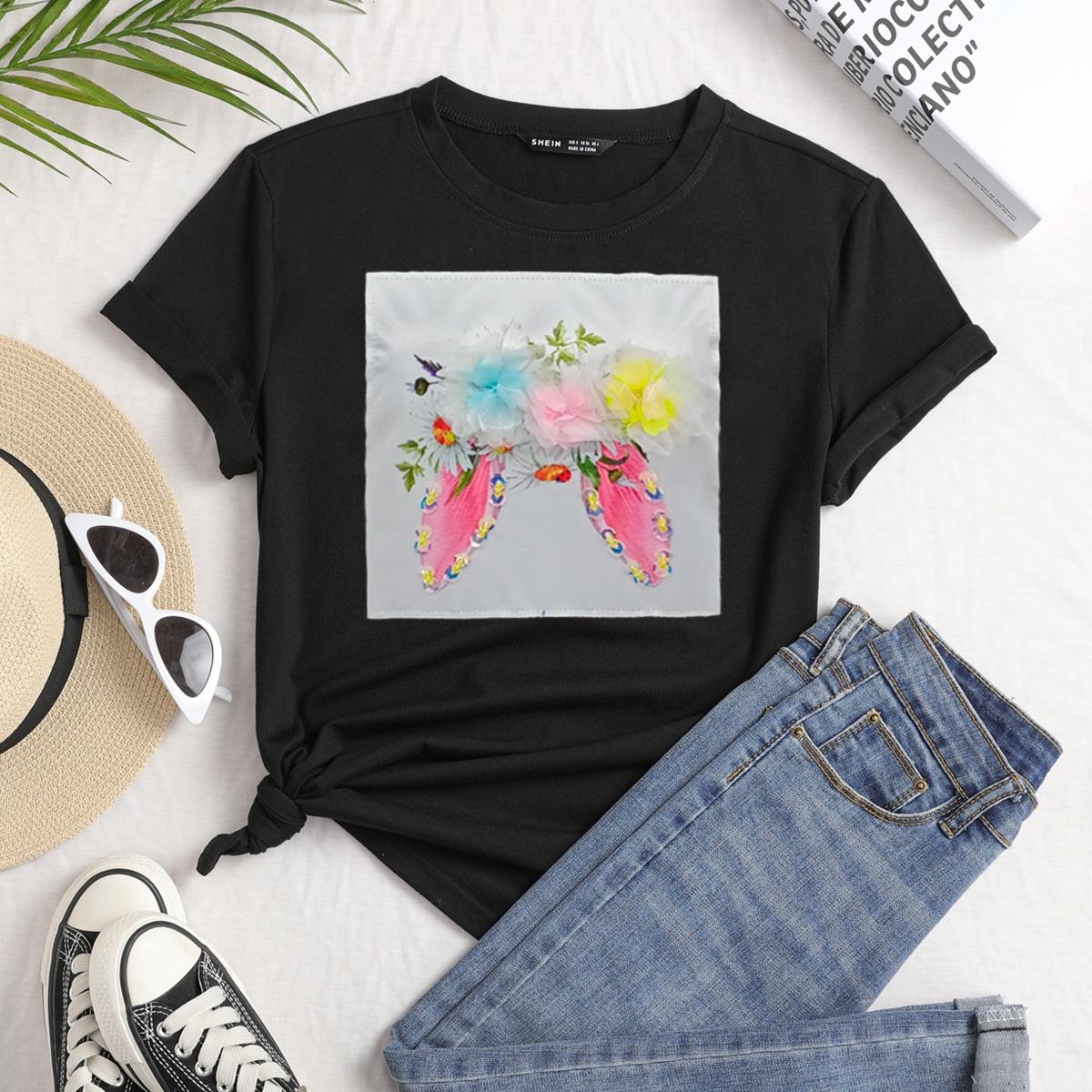 Maglietta con appliques e stampa floreale