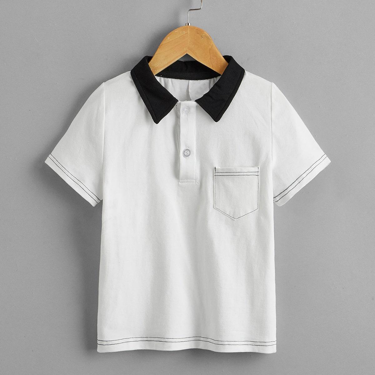 Camisa polo de cuello en contraste