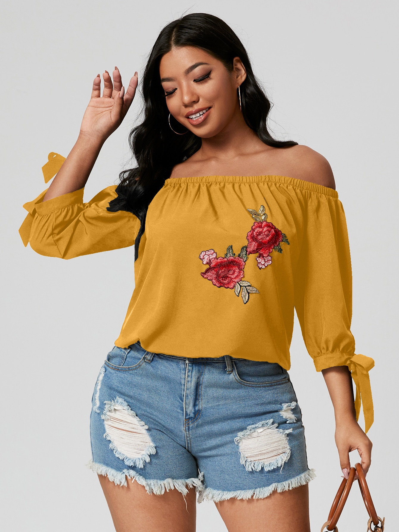 plus off shoulder knot cuff floral embroidery blouse
