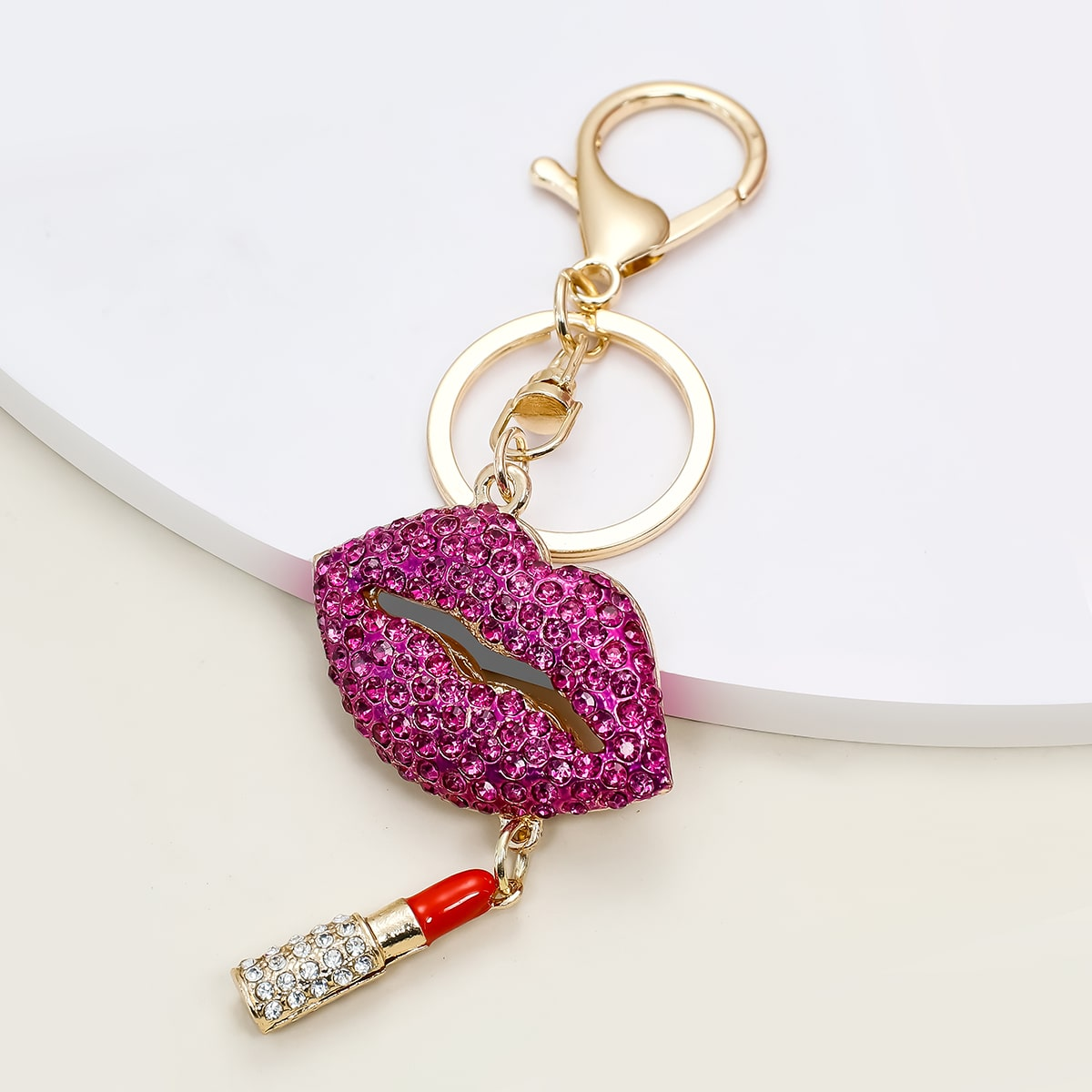 Lip & Lipstick Pendant Keychain