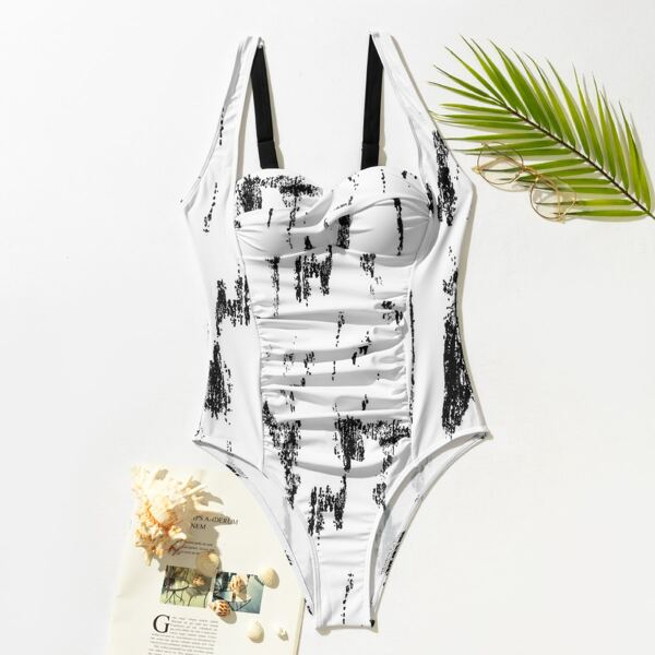 Graphic Ruched One Piece Swimsuit, Black and white