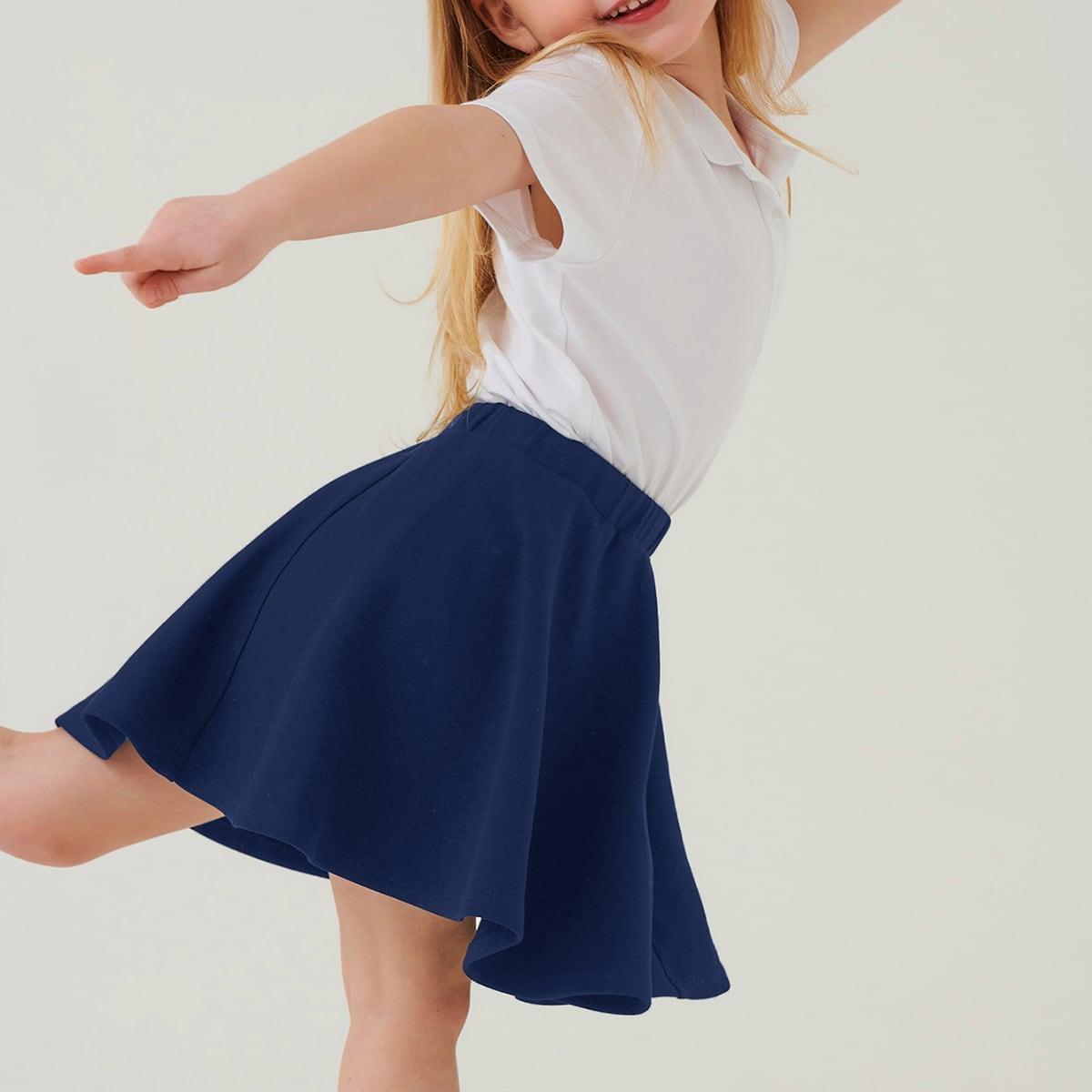 Toddler Girls Solid Elastic Waist Skirt
