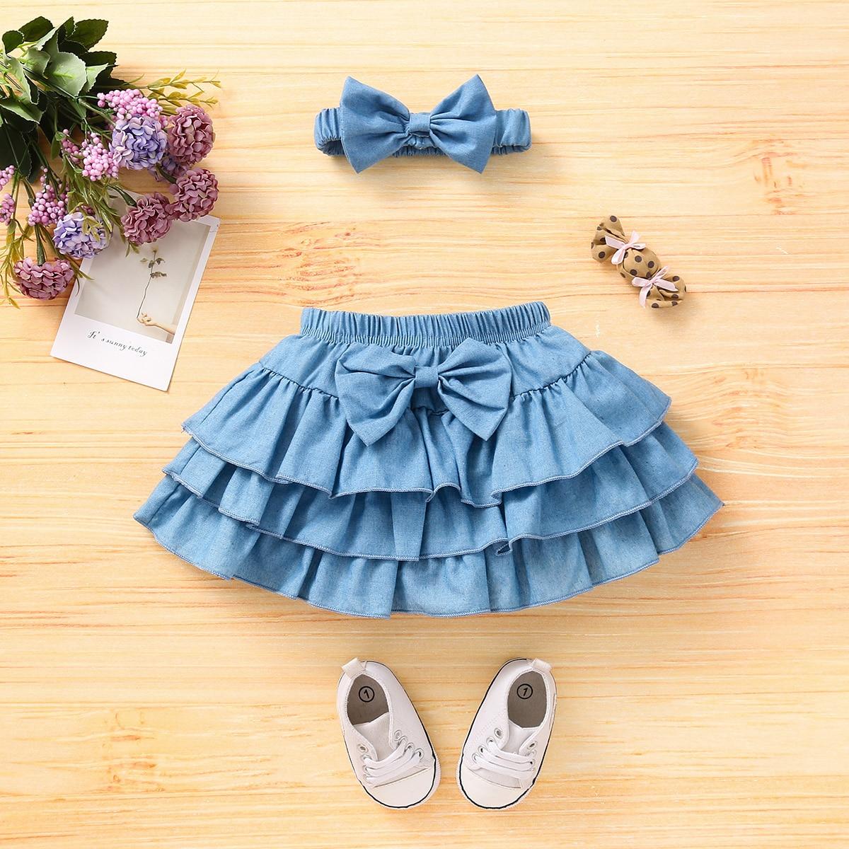 для девочек с бантом многослойный Джинсовая юбка & Ободок для волос от SHEIN