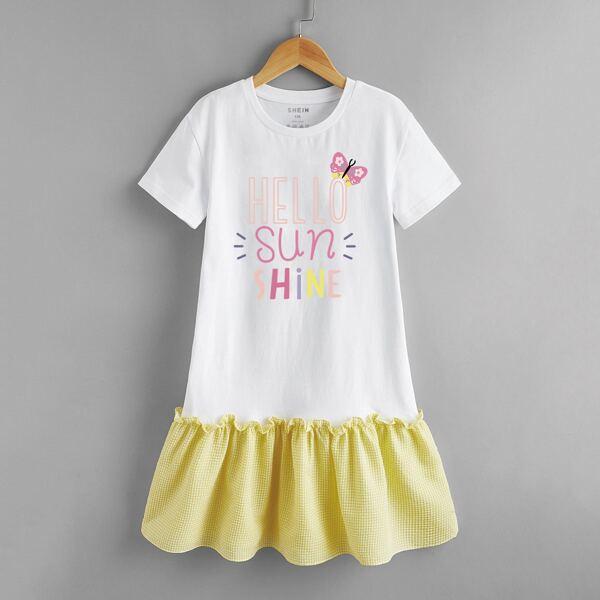 Toddler Girls Slogan & Cartoon Graphic Ruffle Hem Dress, White
