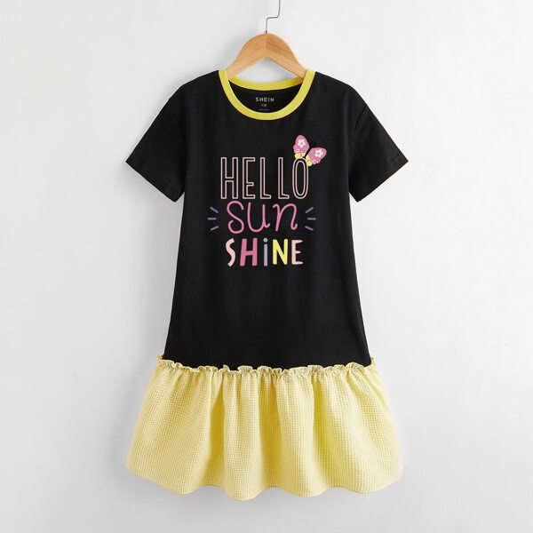 Toddler Girls Slogan & Cartoon Graphic Ruffle Hem Dress, Multicolor