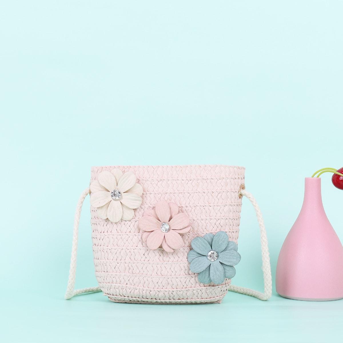 со стразами Со цветочками Детские сумки через плечо SheIn skbag18210507143