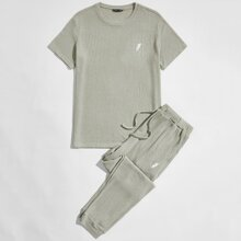 Guys Feather Embroidered Waffle Knit Top & Joggers Set
