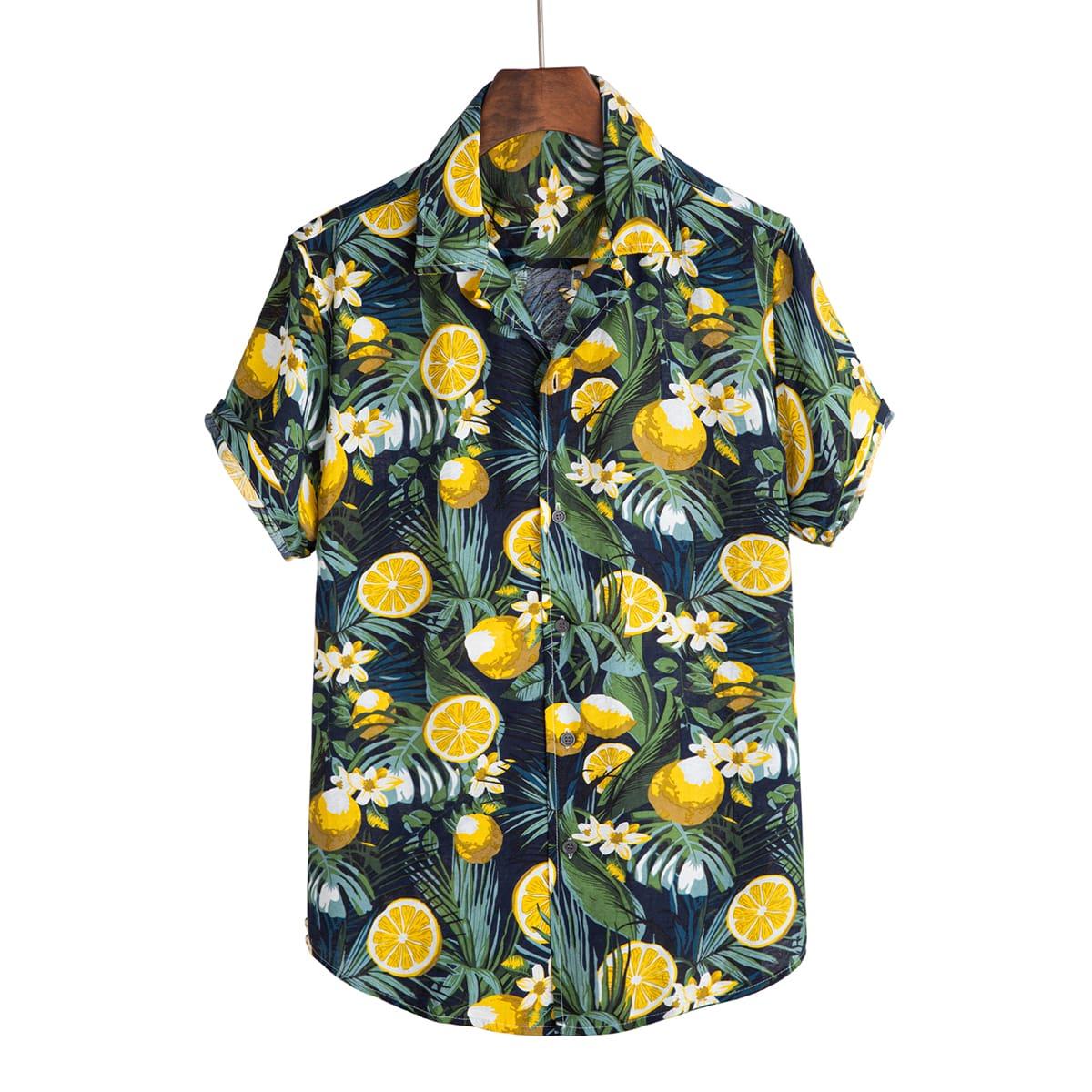 Мужская рубашка с лимонным принтом SheIn smshirt03210316754