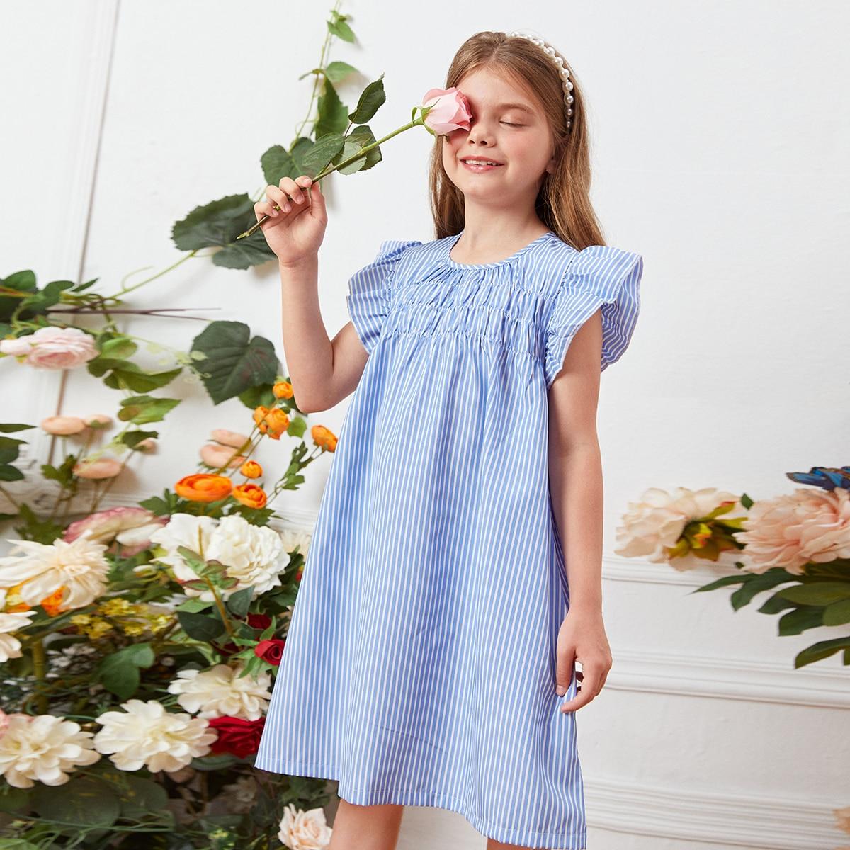 для девочек Платье-туника в полоску с рукавами-бабочками