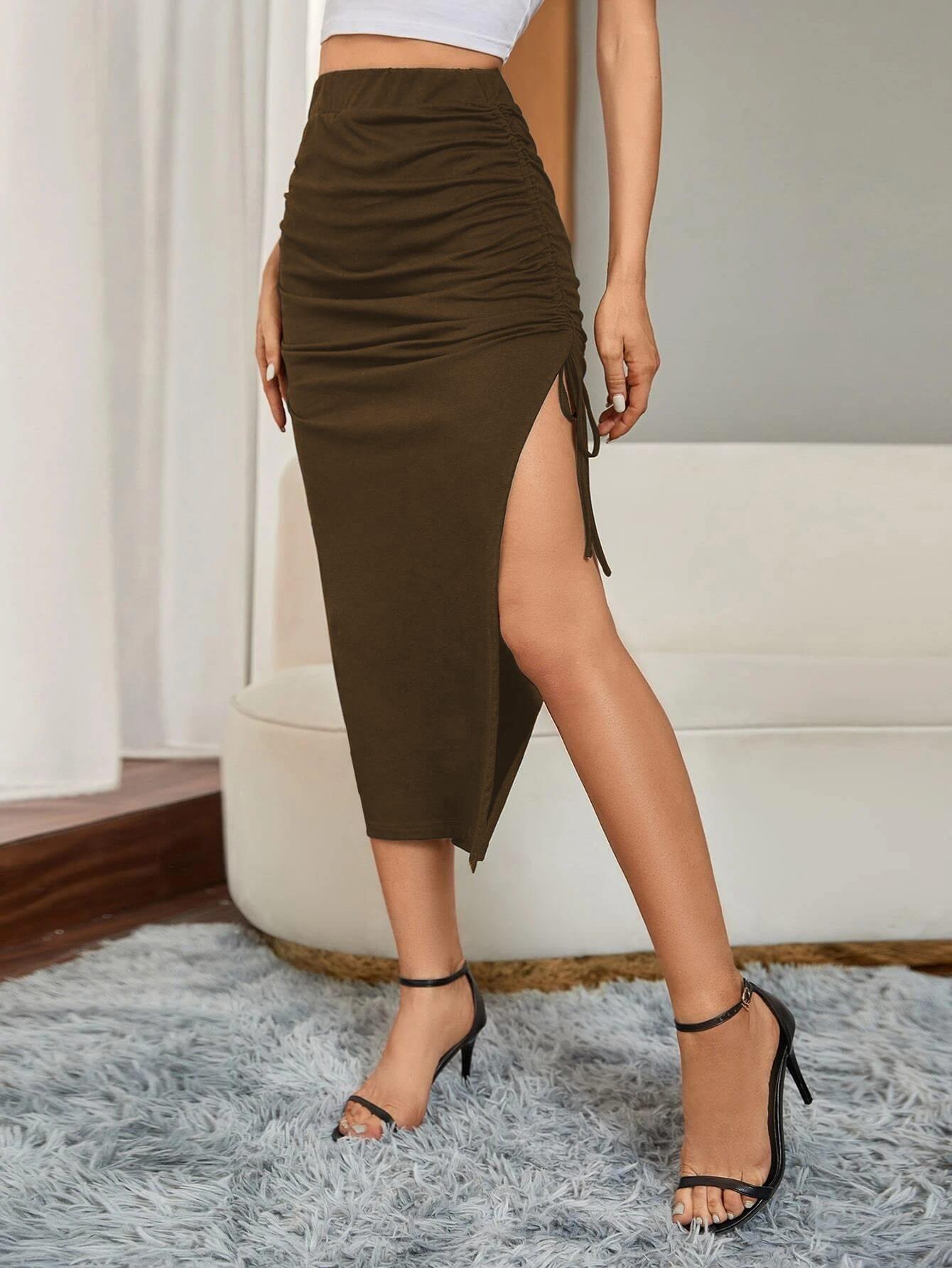 solid drawstring split thigh skirt