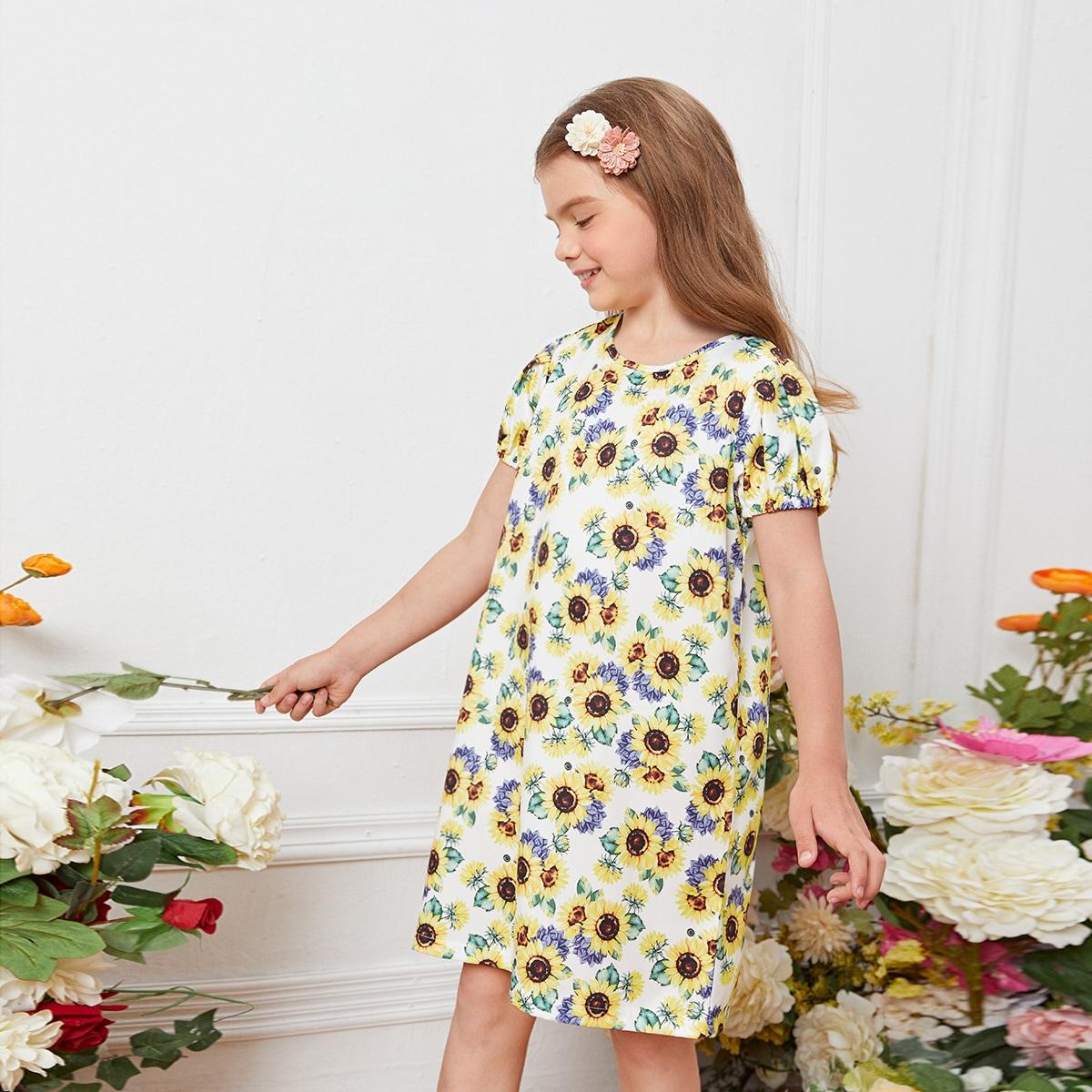 для девочек Платье-туника с принтом подсолнуха