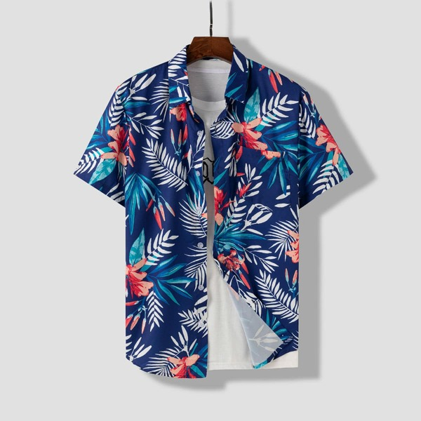 Men 1pc Random Plants Print Shirt, Navy blue