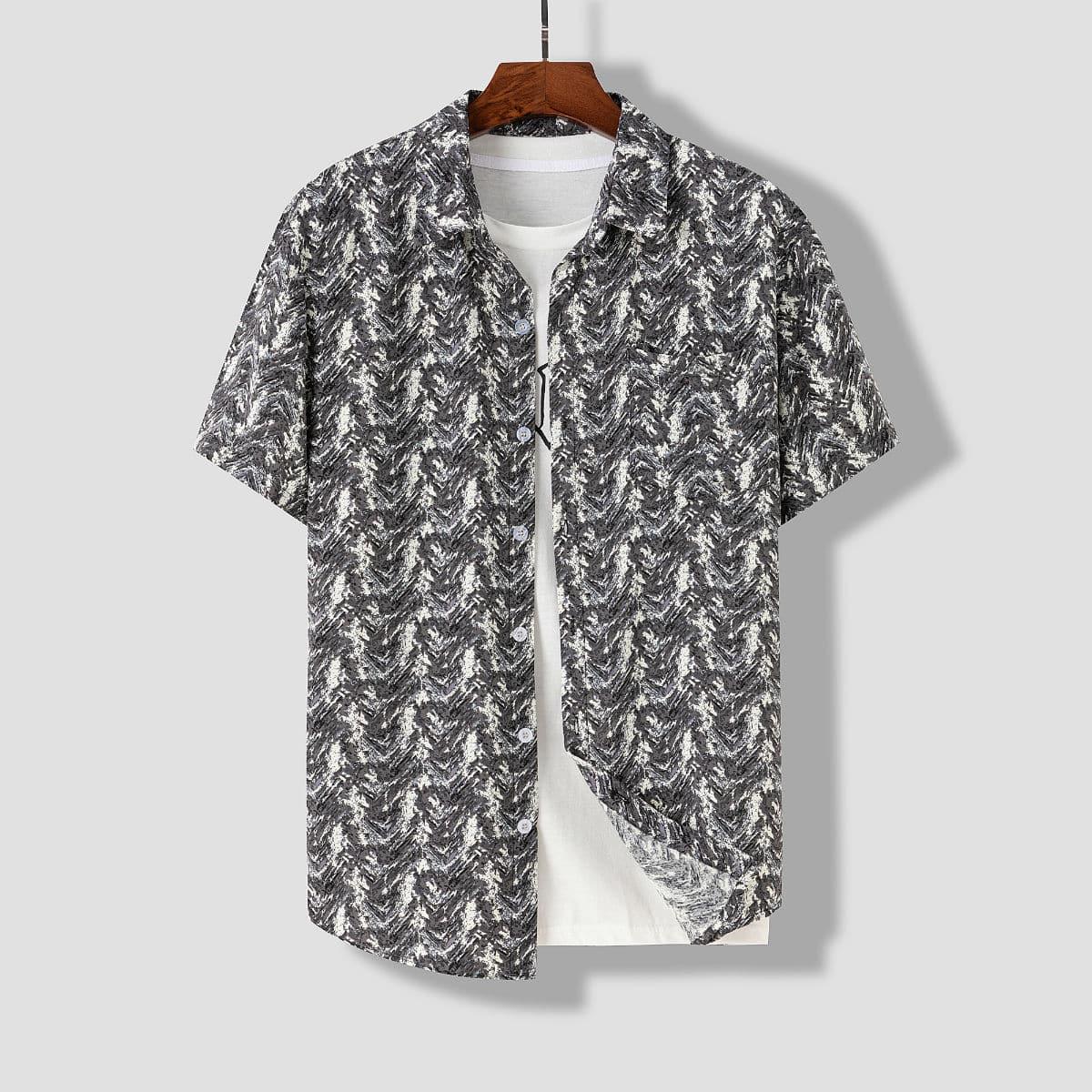 Мужской 1шт Рубашка с принтом SheIn smshirt03210325664