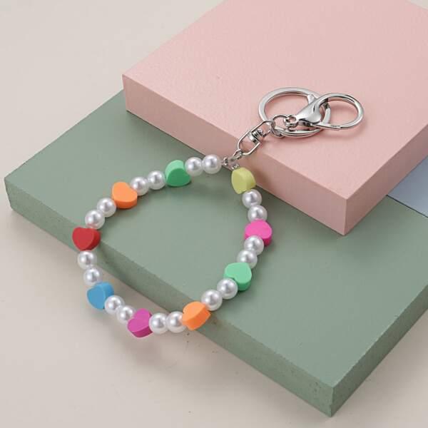 Faux Pearl & Heart Beaded Keychain, Multicolor
