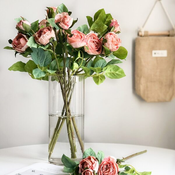 1branch Artificial Rose With 3pcs Head, Pink