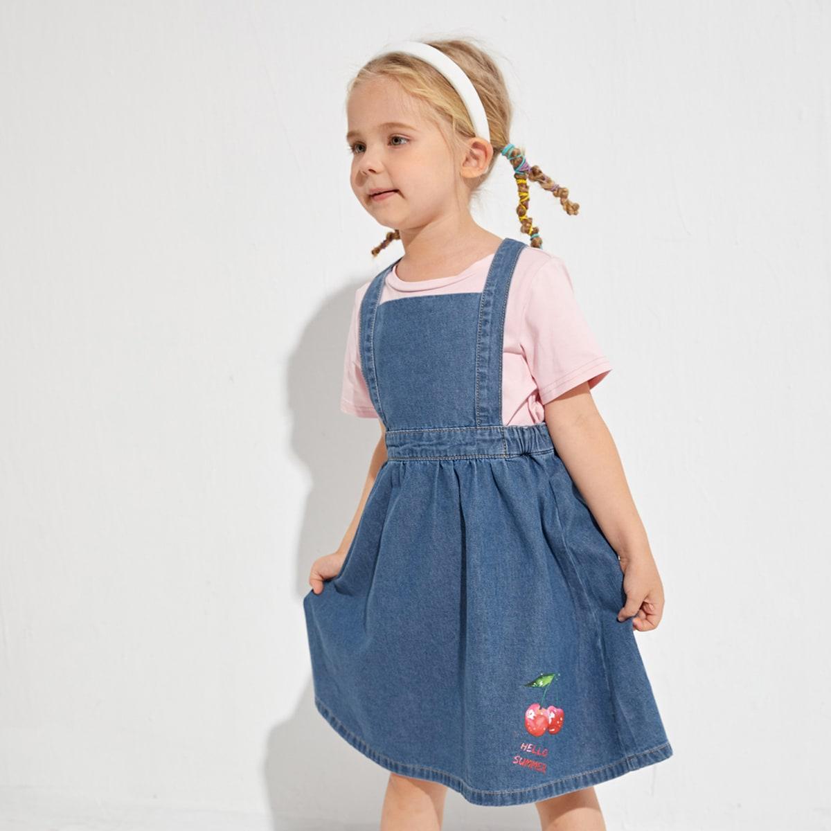 для девочек Джинсовое платье буква & с принтом вишни SheIn skdress25210422425