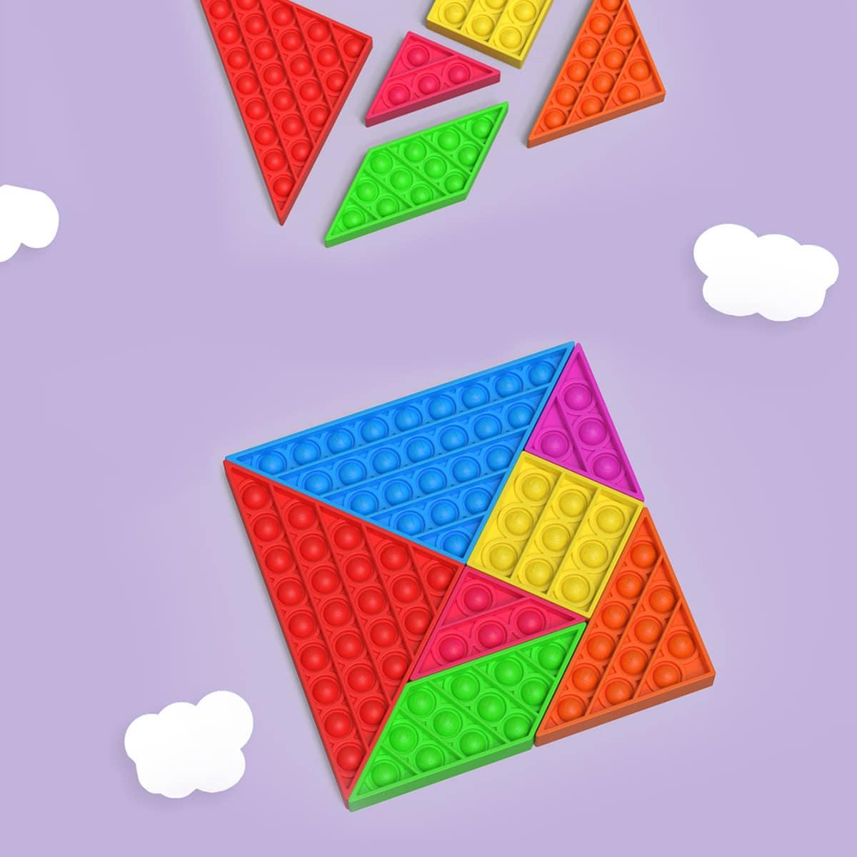 7pcs Tangram Design Random Push Pop Bubble