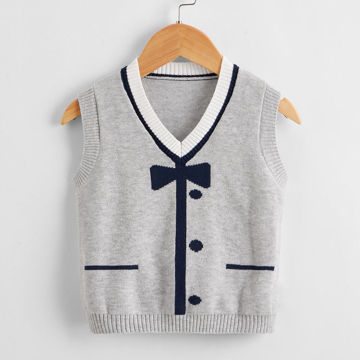 Детский Вязаный жилет с узором банта с v-образным вырезом SheIn sksweater25210507779