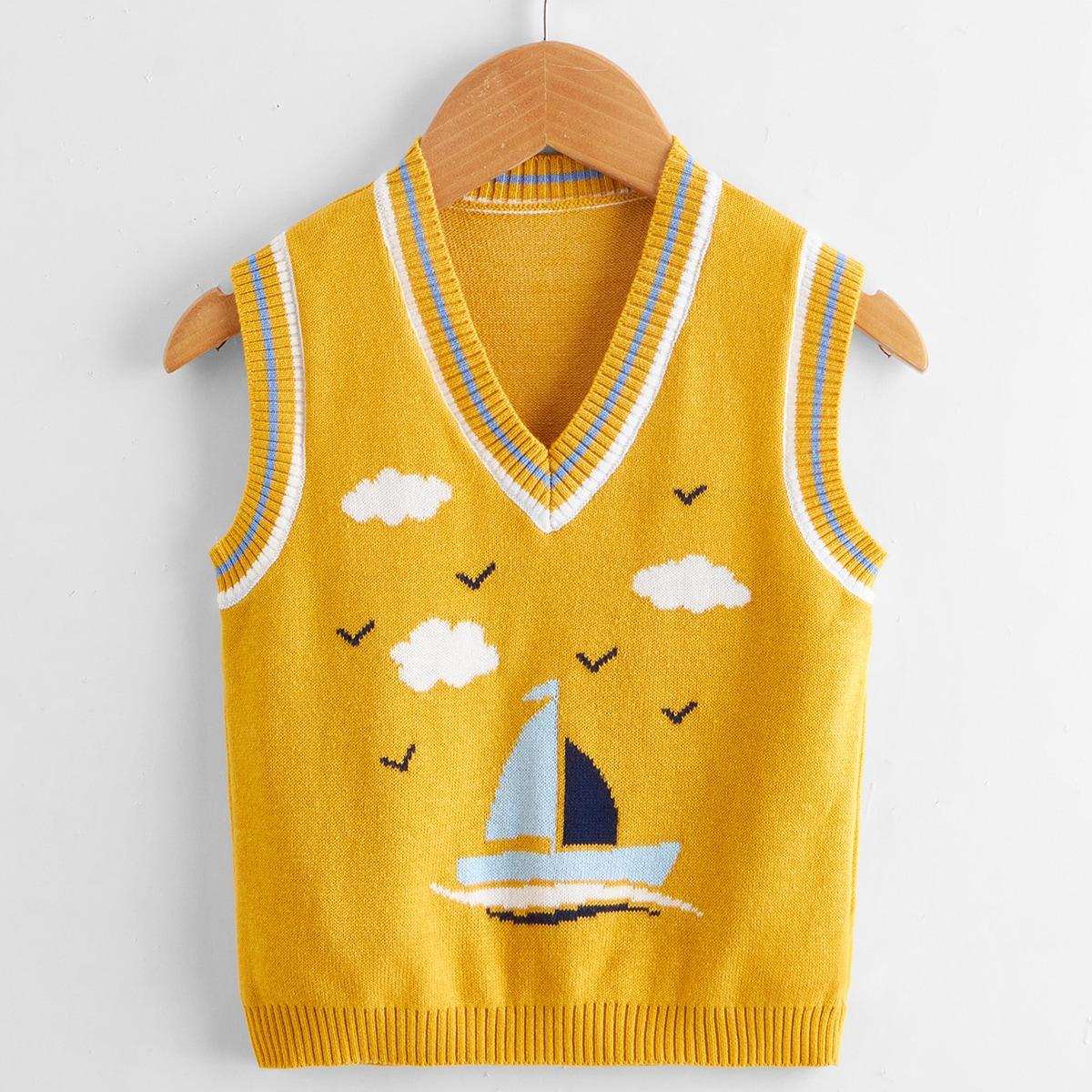 Детский Вязаный жилет с мультипликационным узором с v-образным вырезом SheIn sksweater25210506364