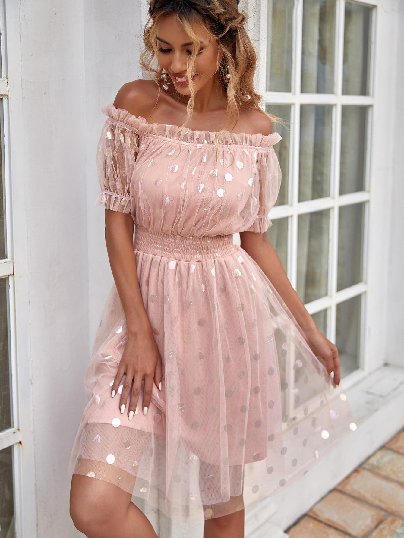 polka dot mesh bardot dress