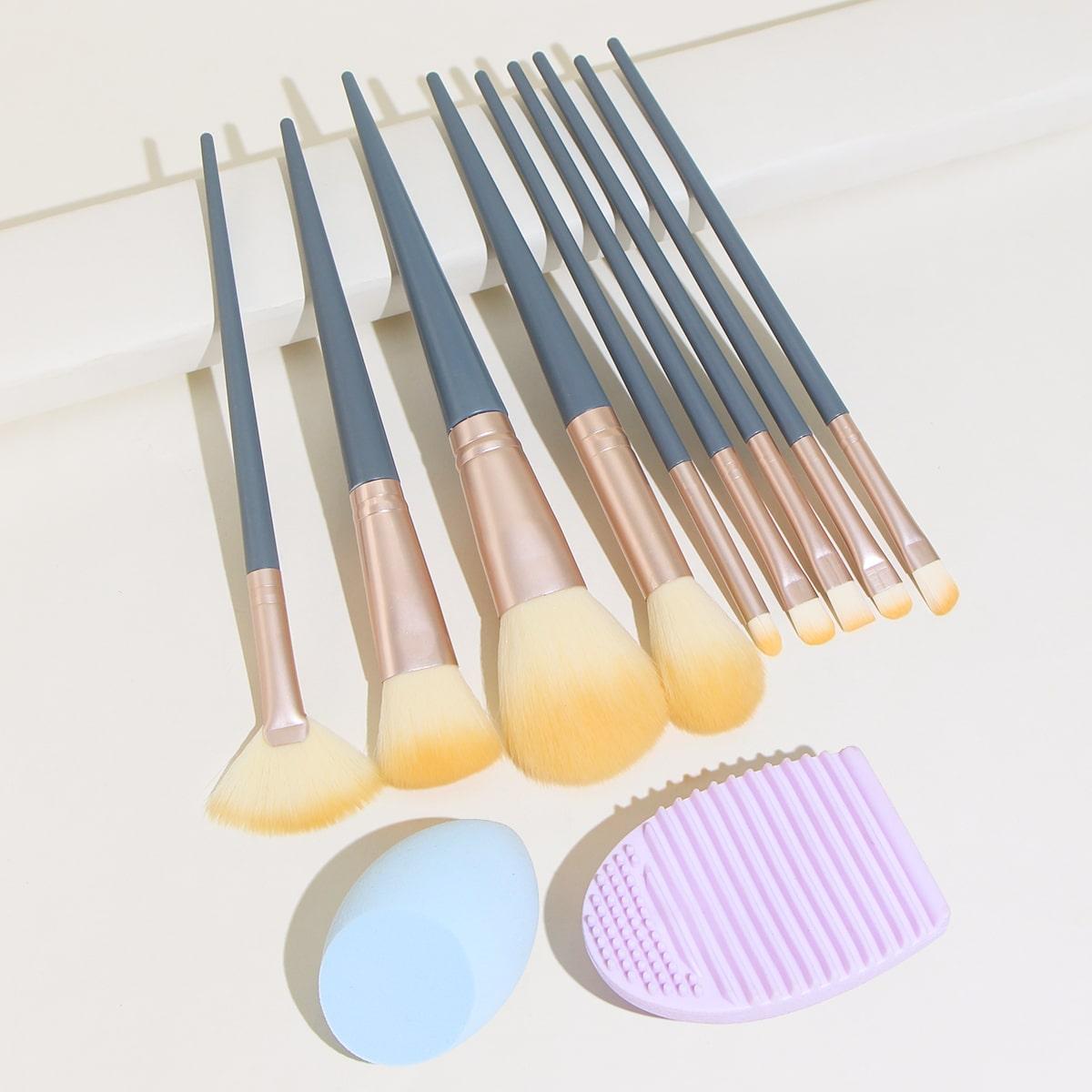 10шт кисть для макияжа & 1шт губка для макияжа и 1шт инструмент для очистки