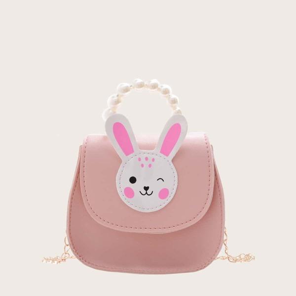 Girls Cartoon Rabbit Appliques Saddle Bag, Baby pink
