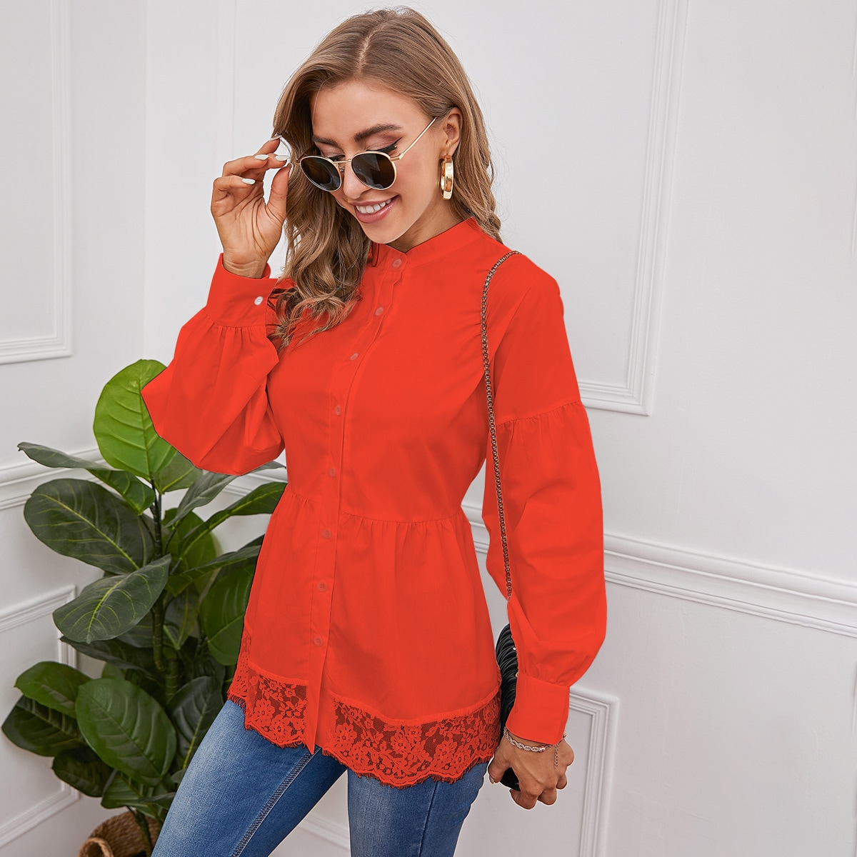 Блуза с кружевом SheIn swblouse25210305079