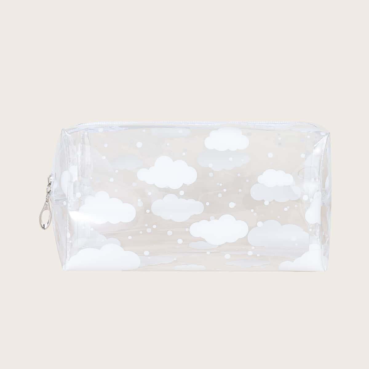 Прозрачная квадратная косметичка с облачным узором