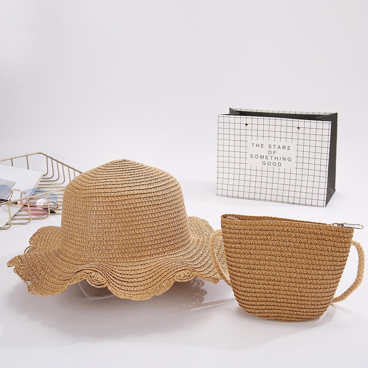 Girls Minimalist Straw Bag & Straw Hat
