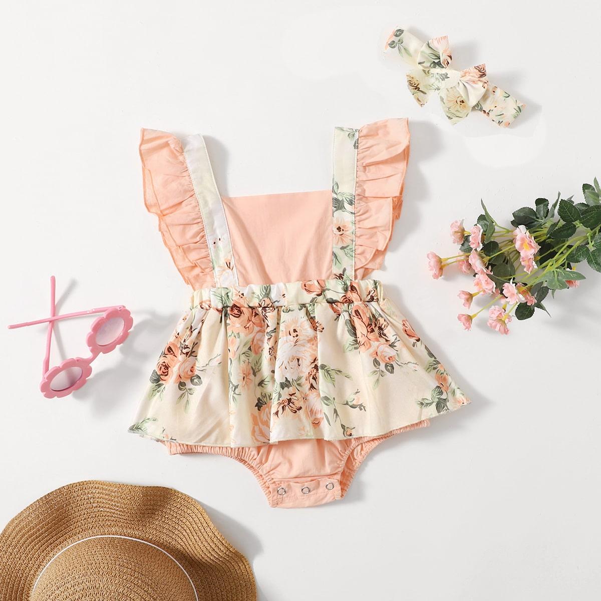 Платье-боди с оборкой и повязка на голову с цветочным принтом для девочек от SHEIN