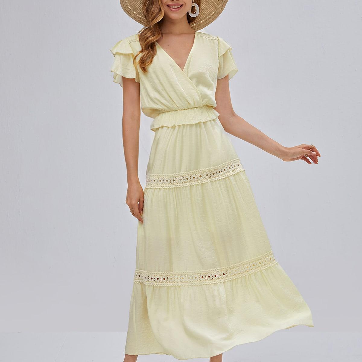 Контрастные кружева с оборками Одноцветный Бохо Платье