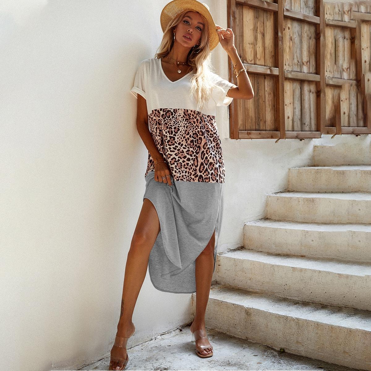Платье-футболка комбинированным принтом с разрезом SheIn swdress23210420353