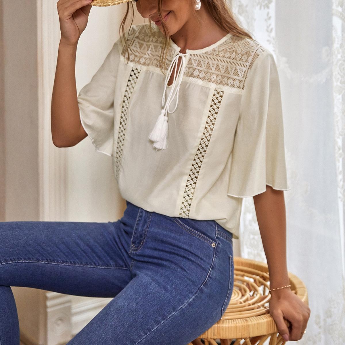 Блуза с кружевом SheIn swblouse44210417410