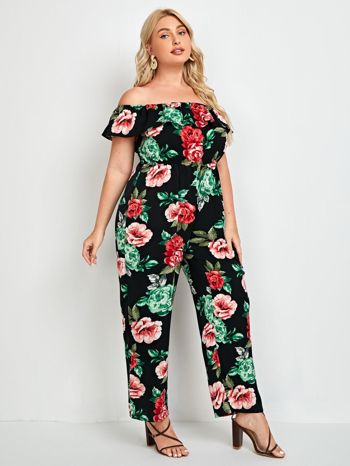 Plus Off-Shoulder Floral Print Ruffle Trim Jumpsuit
