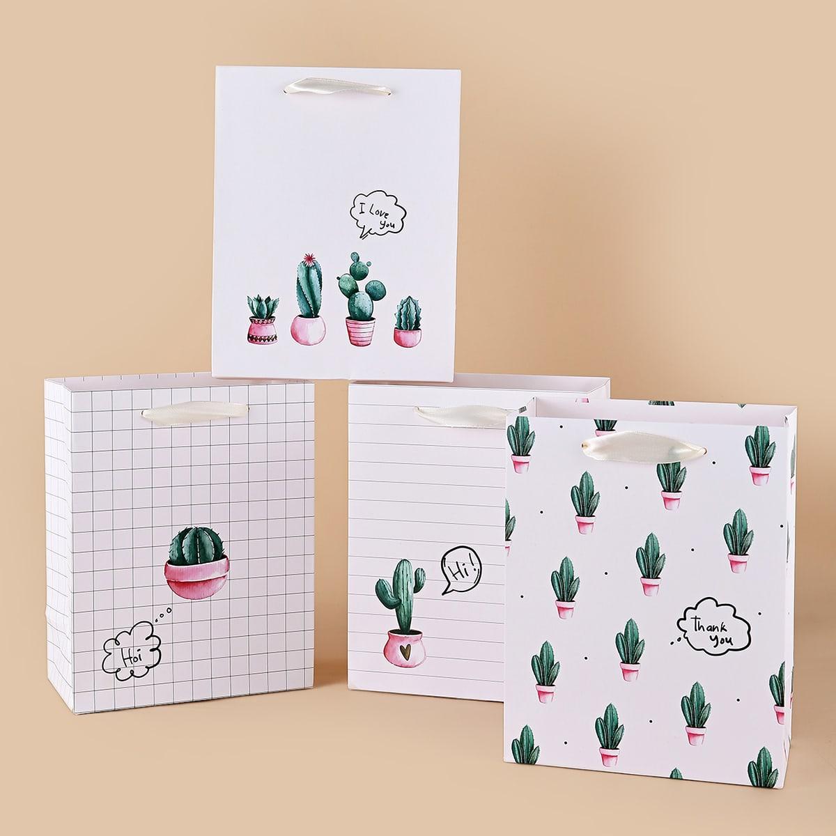 4 pièces Sac-cadeau à imprimé cactus en pot