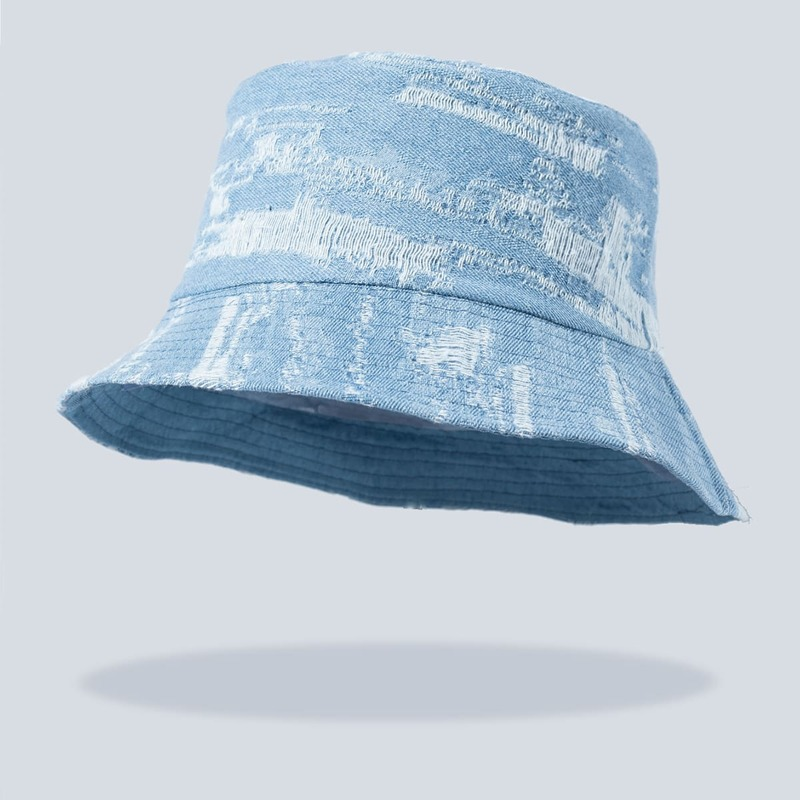 Ripped Bucket Hat, Baby blue