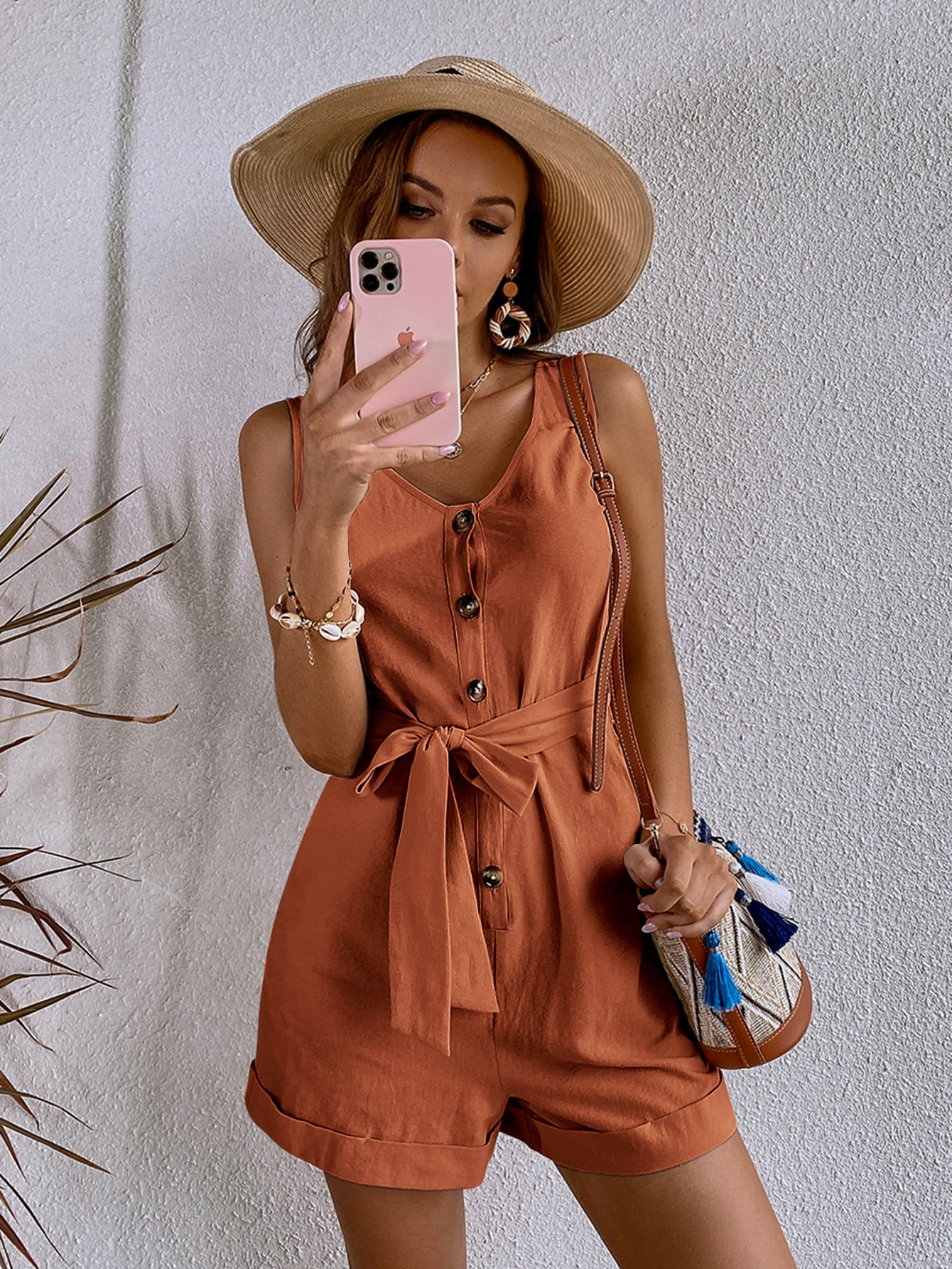 Button Front Belted Tank Romper