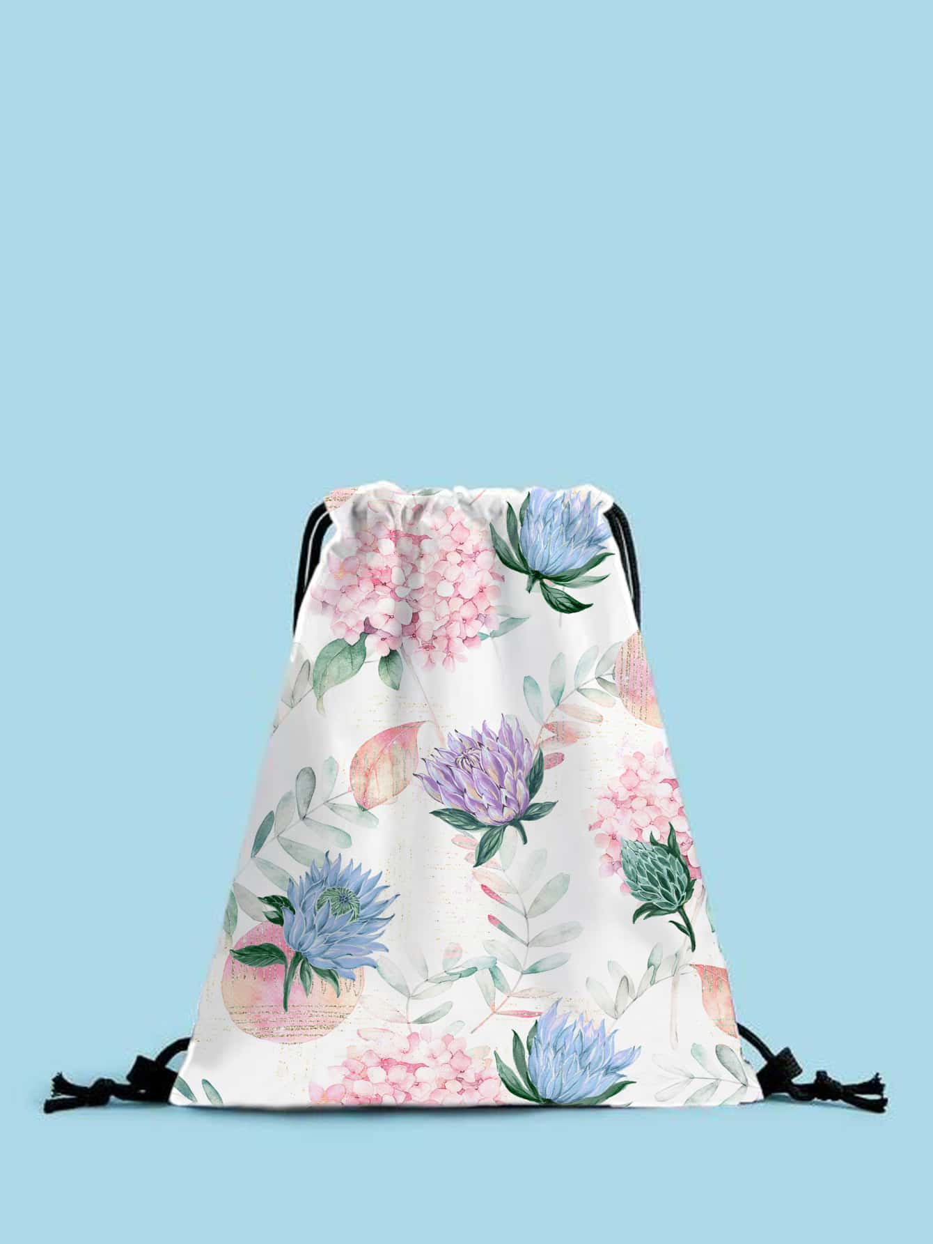floral graphic drawstring backpack