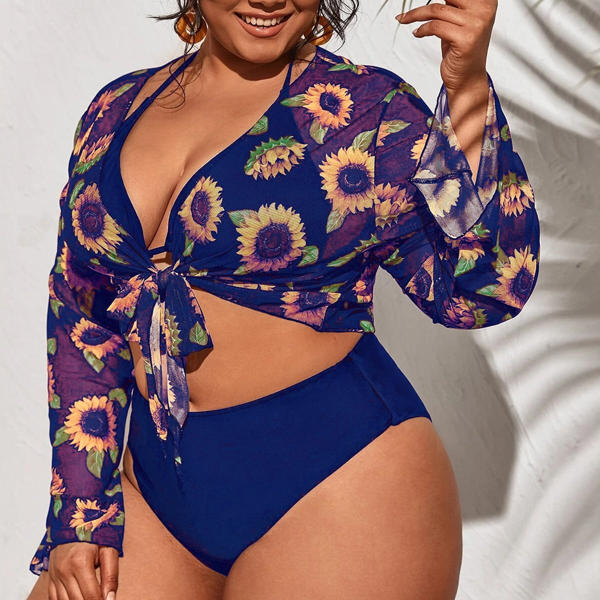 3pack Plus Halter Bikini Swimsuit & Sunflower Print Kimono