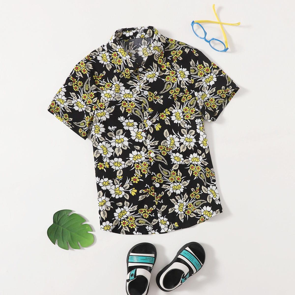 для мальчиков Рубашка с цветочным принтом